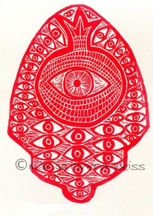 eye/pomegranate hamsa (linocut)