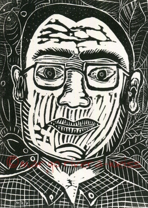 self portrait (linocut)